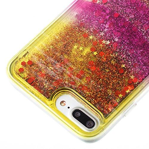 "iPhone 8 Plus 5.5"" Case, iPhone 8 Plus Gliter Case, Edaroo [Rainbow Liquid Glitter] [Colorful Quicksand] Cute Creative Flowing Liquid Floating Glitter Bling Rubber Case for Apple iPhone 7 PLUS (5.5 in Stripe #5"