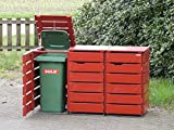 3er Mülltonnenbox / Mülltonnenverkleidung 120 L Holz, Deckend Geölt Nordisch Rot