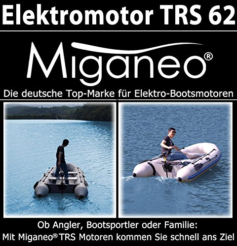 Miganeo Aussenborder Elektromotor 62 lbs -2006kg Schubkraft 696 Watt mit Batterie LED -12 Volt 28,2kp salzwassertauglich -