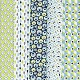Textiles français Stoffpak bundle de telas - 5 telas: anís y turquesa con azul, gris pardo y blanco - colección de telas 'soñar con colores'   100% algodón   50 cm x 40 cm
