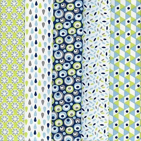 Textiles français Stoffpak bundle de telas - 5 telas: anís y turquesa con azul, gris pardo y blanco - colección de telas 'soñar con colores' | 100% algodón | 50 cm x 40 cm