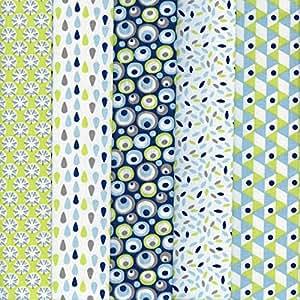 Textiles français Stoffpak - 5 Coupons Tissus - Collection 'rêve la vie en couleur' - vert anis et turquoise (avec bleu, gris taupe et blanc) - 50 cm x 40 cm chacun