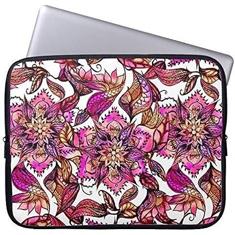 Electronics fundas neopreno portátil 160516–6 Bright Watercolor Floral Mandala Henna Hand Drawn 13-13.8