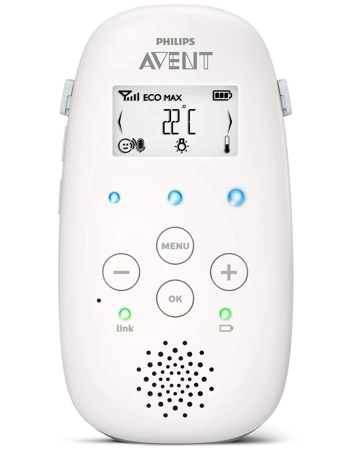 Philips Avent DECT Baby Monitor with Temperature Monitoring, Night Light and 5 Lullabies - SCD710/05 Philips Reliable, crystal clear connection to your baby within a range of up to 330 meters* 100% privacy - DECT technology provides a secure and private connection Talk to your baby remotely 5