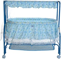 Mee Mee Baby Cradle with Swing, Mosquito Net and Storage Basket (Blue)