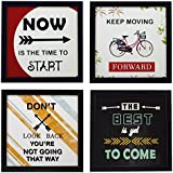 Indianara 4 Piece Set Of Framed Wall Hanging Motivational Office Decor Art Prints (1194) 8.7 Inch X 8.7 Inch Without Glass