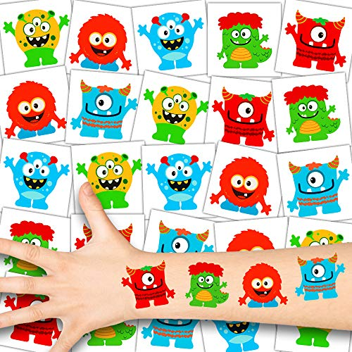 German Trendseller® 36 x Funny Monster Tattoos - Tattoo temporär ┃ Monster Party ┃ Kindergeburtstag ┃ Mitgebsel ┃ Gute Laune Monster ┃ 36 Tattoos (Kostüme Gute Jungs-halloween)