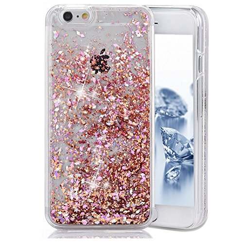 iphone 6 Plus custodia rigida, Copertura dura per la iphone 6 5.5, Hard Case Cover per iphone 6 Plus in 3D, Ukayfe Creative Design scorre fluttuante liquido lusso di Bling di scintillio Sparkle Bella Rosso paillettes diamante