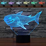 3D Illusion Lamp Shark Led Night Light, 7 Colours Flashing Touch Switch Bedroom