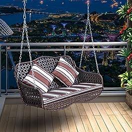 Rocking chair Health UK Balancelle d'extérieur en rotin avec Coussins imperméables, 130cm*42cm