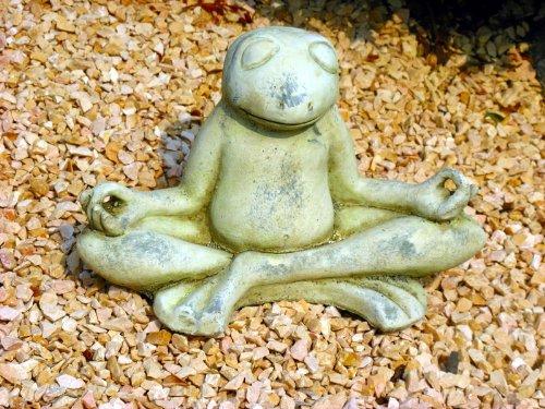 Yogafrosch Frosch in Yoga Position aus Steinguss | Gartenfigur | Teichfigur