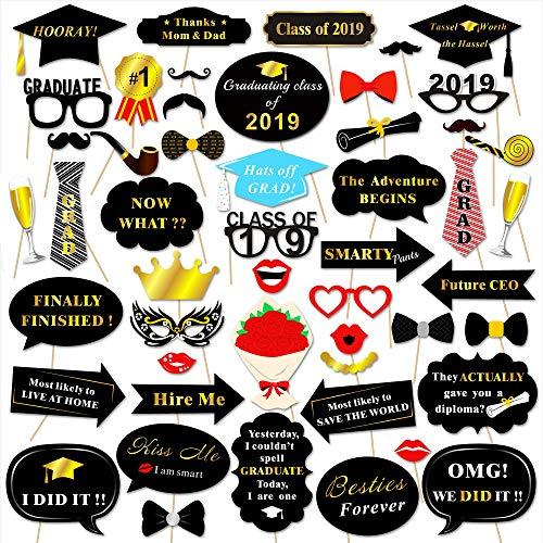 Howaf 50 Stück Graduierung Photo Booth Props Fotorequisiten Foto Accessoires Brillen Lippen Krawatte Masken Doktorhut Abschluss Party Deko