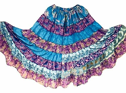 9 Yard Tribal Gypsy Maxi Tiered Skirt Jupes de danse du ventre Soie Blend Banjara Fits S M L 397
