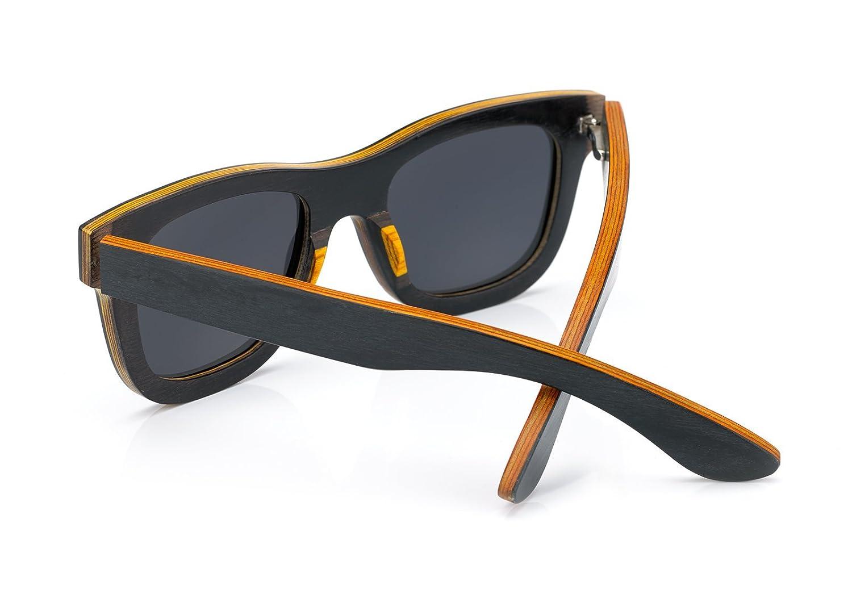 4sold Holz Sonnenbrille polarisierte Rahmen der Brille besteht aus Birnbaumholz/Bambus wood glasses eyewaer bamboo/style (wood blue) veO5XKe