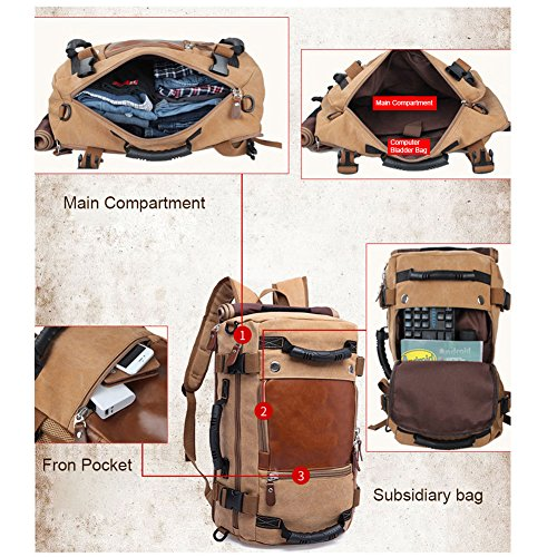 Borse da viaggio multiuso Yoome per Uomo Canotta zaino Zaino Laptop Dayback Travel College Escursioni Escursioni alpinismo Weekend Bag Borse a tracolla Borse - Khaki Nero