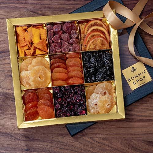 BONNIE AND POP Geschenkset mit Trockenfrüchten (Körbe und Geschenkkörbe für Sympathie, Geburtstag und Dank, erhalten Sie ein Firmen- und persönliches Geschenk) 9 Abschnitt 650g -