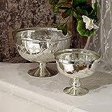 Blanc Mariclo Vase mit Fuß, Blumentopf, Dekovase, Tischvase Vintage Landhaus Shabby - Vintage - Durchmesser 24 cm - Antik Silber - Metall