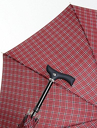 DESIGNER Automatik Regenschirm GEHSTOCK Bordo KARO SPAZIERSTOCK für Senioren