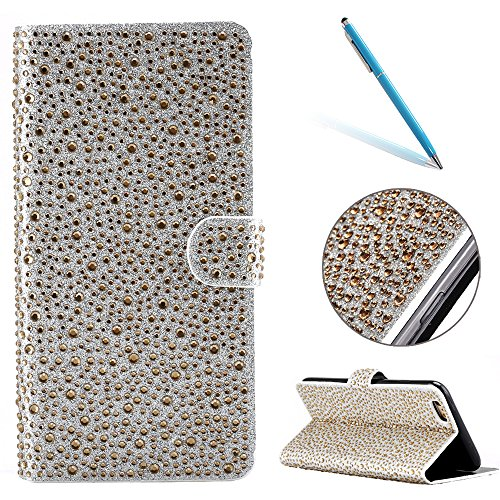 "iPhone 6sPlus Ledertasche, Kristall Sparkly Diamant CLTPY iPhone 6Plus Folio Book Stil Luxus Schlanke Hybrid-Kreditkartentasche Mappenbeutel Schale Case, 3 in 1 Ganzkörper-Fall für 5.5"" Apple iPhone 6 Gold D"