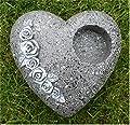 Grabschmuck Deko Herz mit Ausschnitt *Rosen-Ornament* dunkel-grau-antik 20 cm von Home3010 - Du und dein Garten