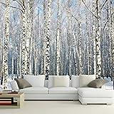 Weaeo Benutzerdefinierte 3D Tapeten Naturlandschaft Wandmalereien Winter Birkenwald Landschaft Tapete Große Wandbild Für Wohnzimmer Sofa Tv Hintergrund-350X250Cm
