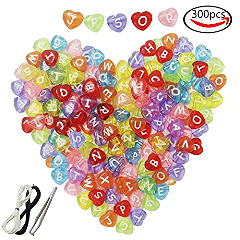 JPSOR 300pcs 4x12mm Acrylic Translucent Colorful Heart-shaped Letter Beads with White Letters, with 1 Pair of Tweezers, 1 Black and 1 White Cord for Jewelry