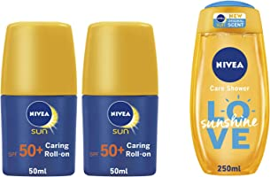 Nivea Sun Caring Roll-on SPF 50, 2 Pcs + Sunshine Shower Care - 300 ml