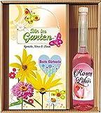 Bin im Garten Beste Gärtnerin mit Rosenlikör im Geschenke Set
