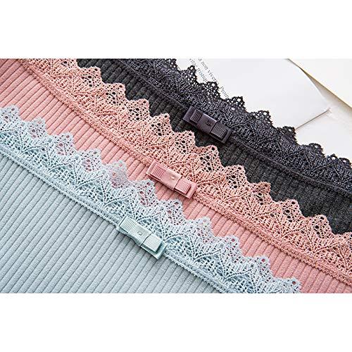 Haodou String mit Spitze Damen Unterhose Baumwolle Unterwäsche Reizvolle Wäsche durchsichtige Tanga G-Schnur Schlüpfer Damenwäsche Dessous Länge 21cm (hellgrün) - 3