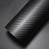 LJO Flexible 3D Twill-Weave Carbon Fiber Vinyl Folie Wrap Rolls Aufkleber Für PKW-Fahrzeug, Motorrad, Apple iPhone iPad DIY Dekor Aufkleber Etc, 4.16 Ft X 1.6 Ft (127Cm X 50Cm),Black,127*50CM