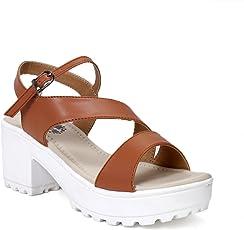 Meriggiare Women Black Block Heel Party PU Sandals
