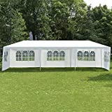 COSTWAY Partyzelt Gartenzelt Hochzeit Festzelt Pavillon Zelt Gartenpavillon Bierzelt mit Fenster 3x9m (Weiß)