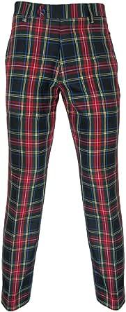 "Murray Pantaloni da golf scozzese in Nero Stewart Tartan rosso–31""interno gamba"