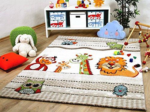 dschungel teppich Savona Kinder und Spiel Teppich Kids Bunte Tierwelt Beige in 5 Größen