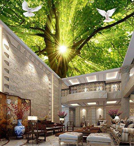 Wapel Benutzerdefinierte Größe 3D Decke Wllpaper Baum Sonnenschein Tapeten 3D Foto Wohnzimmer 3D Decke 3D Fototapete Seidenstoff Material 260X180Cm(102.36X70.87 In)