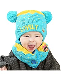 Kfnire sciarpa del cappello della parte superiore della lettera di inverno  del bambino dei ragazzi delle neonate regalo di natale… 6617d4618134