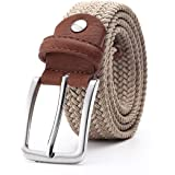 Miss99 Cintura elastica per uomo e per donna Cintura in vita Cintura in pelle intrecciata elasticizzata in tela 1 3/8 'Ampio