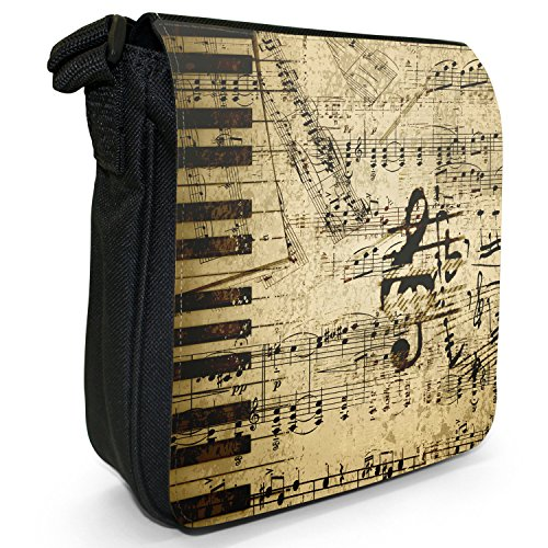 Vintage grunge Music Notes piccolo nero Tela Borsa a tracolla, taglia S Vintage Music Notes Old Paper