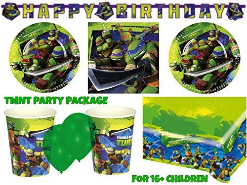 Teenage Mutant Ninja Turtle Party Package for 16+ Childrens Kids Superhero Birthday Party Sets & Supplies TMNT by Partypackage Ltd