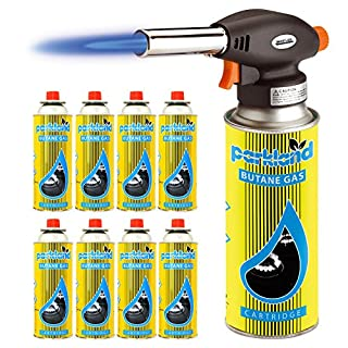 Bond Hardware® Blow Torch Butane Flamethrower Weed Burner Welding Gas Auto Ignition Soldering (Torch + 8 Refills)