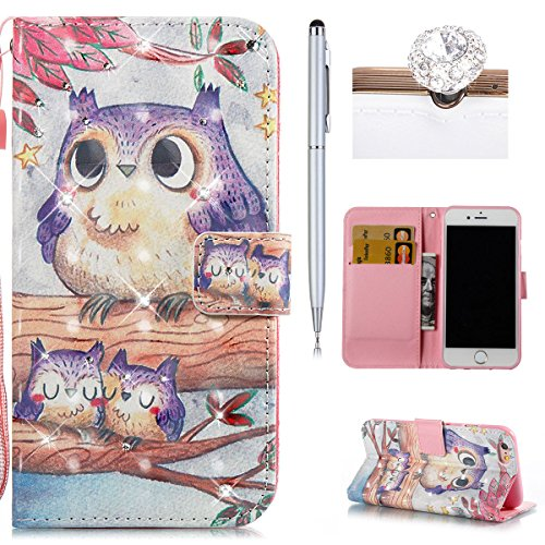 Custodia iPhone 6S,iPhone 6 Custodia in pelle,Felfy 3D Colorato Elegante Lusso Rigida Fantasia Design Stand Flip PU pelle Portafoglio/Wallet Cuoio/Libro Bookstyle Leather Case per Carte di Credito,Chi Diamante Gufo