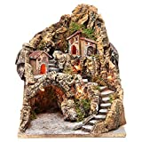 Holyart Borgo con Grotta Illuminato presepe Napoli 37x28x34 cm