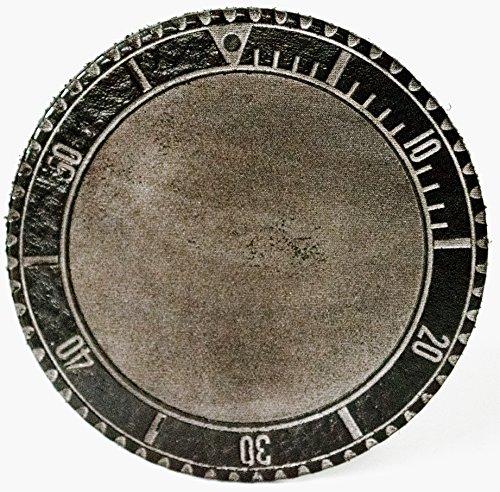"""Glas Untersetzer """"LC 100 Submariner"""", Schwarz, handgearbeitet aus 100% echtem Vintage Leder, Kreisdurchmesser ist 11cm"""