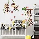 wall art R00379, adesivo da parete per bambini, scimmia arrampicata 2, 30x 120x 0,1cm, multicolore