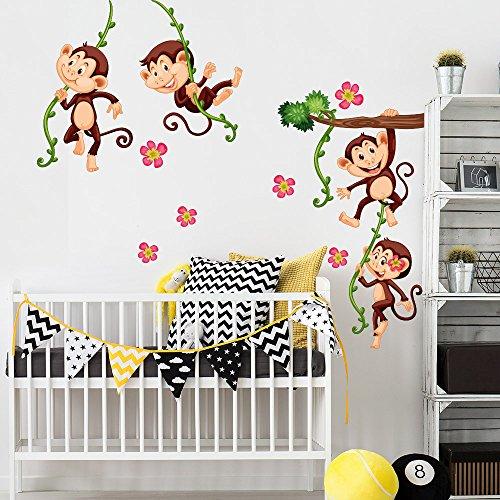 R00379 Adesivo murale per bambini Wall Art - Scimmiette arrampicate 2 - Misure 30x120 cm - Decorazione parete, adesivi per muro, carta da parati