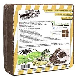 Humusziegel - Terrarium soil - made of 100% pure pressed coconut soil - super absorbent bedding - Block of 70 Litres