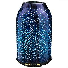 Idea Regalo - TaoTronics Diffusore di Olio Essenziale, 200ML Diffusore di Aromi con Struttura Elegante in Vetro 3D, Umidificatore con 7 Colori LED, Nebulizzatore Fresco con 2 Coperture in Vetro, modalità Notte