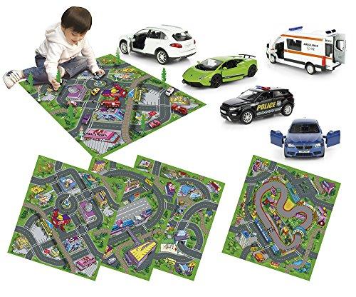 Leomark Alfombra Infantil 140 x 160 Diseño De Ciudad Casas Calles Dibujos De Pueblo Cubrepisos Para Salas Bebés Para Juegos Suave Fácil De Limpiar Mercedes Range Rover Lamborghini Porsche Bmw