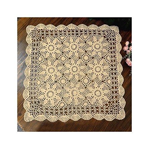 aspire 50,8 cm - 121,9 cm Beige carré Fait à la Main au Crochet en Dentelle de Coton Table Sets de Table Canapé napperons, Coton, Beige, 24in