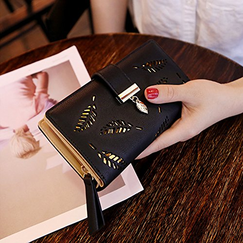 Bonice borsa del portafoglio da donna con la chiusura lampo in pelle PU multifunzione [Grande capacità] Card Slots Case Cover per iPhone 8/8 Plus/iPhone X, iPhone7/7 Plus/6S/6S Plus/6/6 Plus/5/5S/5C/S Modello 18